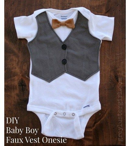 Grey Luster Girl shows how she made this faux vest onesie for a handsome baby boy. It's a store-bought onesie with a vest shape appliqued to the front. A bowtie is stitched to the neck. Th…