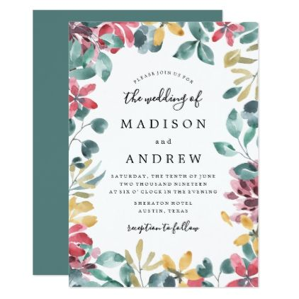 Elegant Blossoms Floral Frame Wedding Invitation - floral style flower flowers stylish diy personalize
