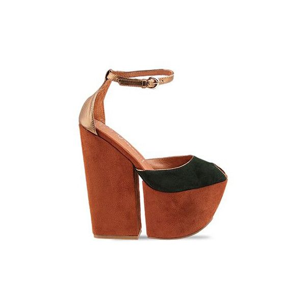 Jeffrey Campbell 4 Evz Platform in Two Tone ($66) ❤ liked on Polyvore  featuring shoes, heels, jeffrey campbell, motel, two tone, thick heel shoes,  ...