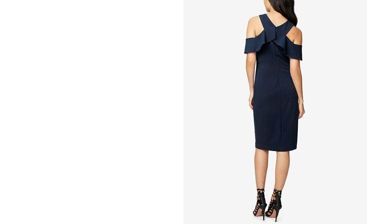 RACHEL Rachel Roy Ruffled Scuba Cold-Shoulder Dress - Dresses - Women - Macy's