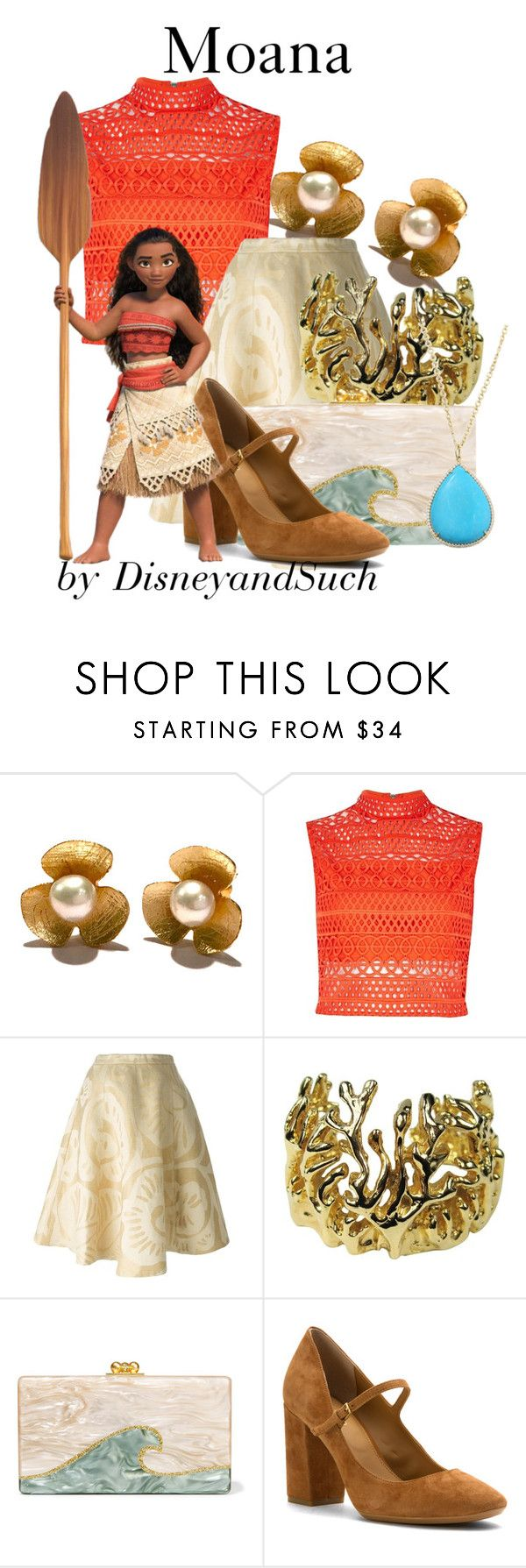 """Moana"" by disneyandsuch ❤ liked on Polyvore featuring River Island, Société Anonyme, Robert Lee Morris, Edie Parker, Calvin Klein, Irene Neuwirth, disney, disneybound, moana and WhereIsMySuperSuit"