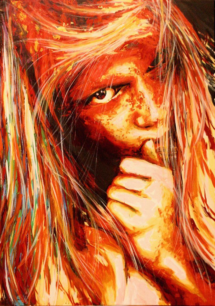 "Carbone / Collection ""Ekinox"" / 116 x 81 cm / Modèle : #nooralappi / #portrait #art #sketch #fredml #ink #white #dangerous #tomboy #hard #monster #paintings #splash #orange #fire #expression #emotion #dark"
