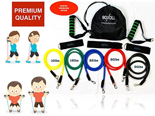 BOXOLL PREMIUM 11 Piece Resistance Bands Set - Exercise Bands, Bodybuilding, Fitness Equipment, Home Gym, Abs Workout, Pilates, Yoga, Weight Loss -- Click image for more details.