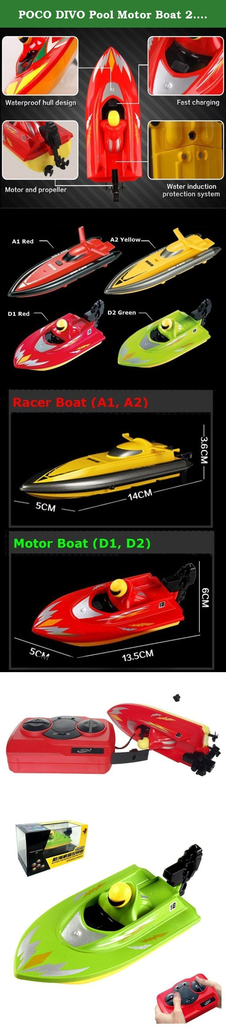 "POCO DIVO Pool Motor Boat 2.4Ghz Mini RC Racer Bathtub Yacht Toy Ship - Green. Pool Motor Boat 2.4Ghz Mini RC Racer Bathtub Yacht Toy Ship - ""Touch water to run"" safety function, the propellers will run when the boat touches the water - Full function remote control (Forward, Backward, Right/Left turn) - Perfect for Bathtub, Jacuzzi, Pool, and Home aquarium - 2.4Ghz technology allow more than 20 boats to sail at the same time - High quality, high performance, high water proof up to 1.5 feet…"