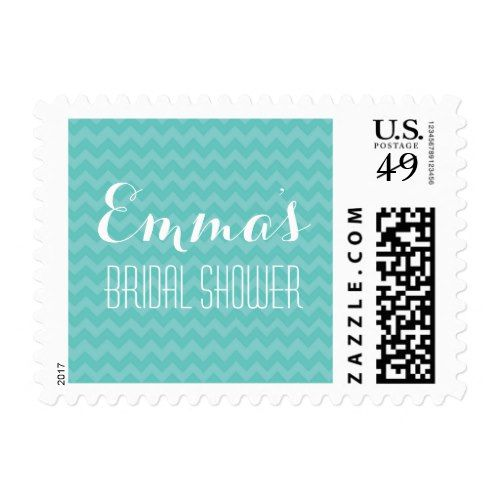 Teal Chevron Turquoise Bridal Shower Postage Stamp