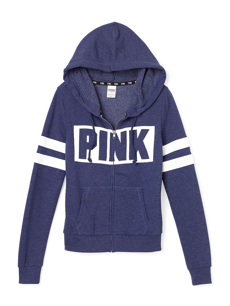 Perfect Zip Hoodie - PINK - Victoria's Secret  LL-339-174 (P82) It's the Perfect Zip Hoodie: super comfy, perfect length, easy everyday style. In our supersoft fleece. Must-have sweats by Victoria's Secret PINK.   In supersoft fleece Print graphics on front Drawstring hood Side pockets Imported cotton/polyester