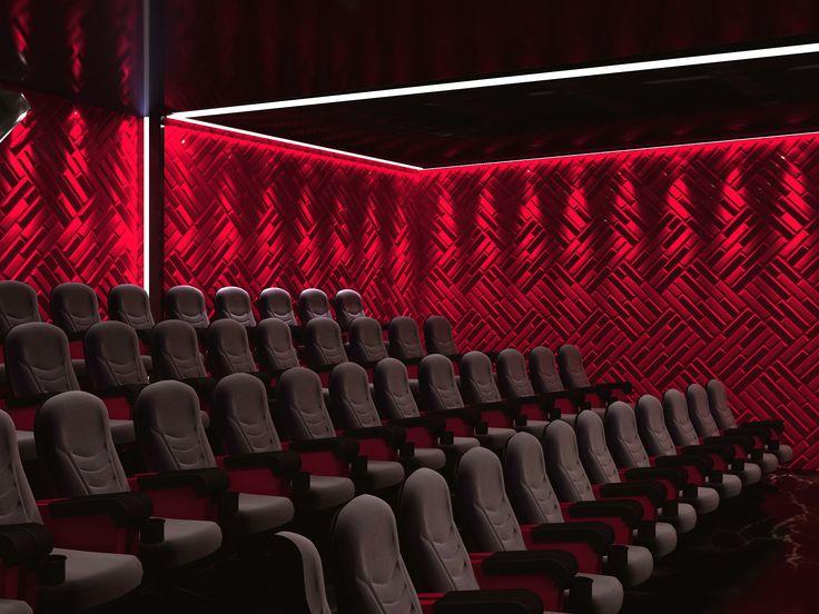 Elokuvateatterin tehosteseinät. #3Dpaneelit #tehosteseinä #julkisettilat