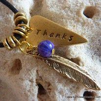 Handstamped Charm Pendant Gemstone Crystal Necklace Pendant handmade noosa