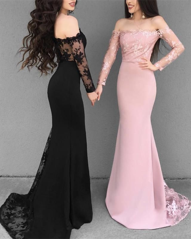 12bda1a36594 2019 Prom Dresses Off Shoulder Mermaid Evening Gowns Long Sleeves in ...