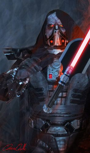 Darth Malgus, this character also looks like Darth vader but in a different costume as he has a sleek design.