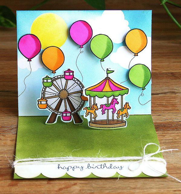lawn fawn admit one stamps & dies - ferris wheel & ballons & merry go round amusements park card fun!!