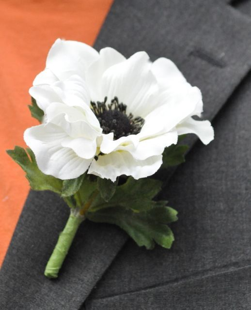 White+Anemone+Flower | Wedding Flowers, White silk anemone with black center boutonniere.