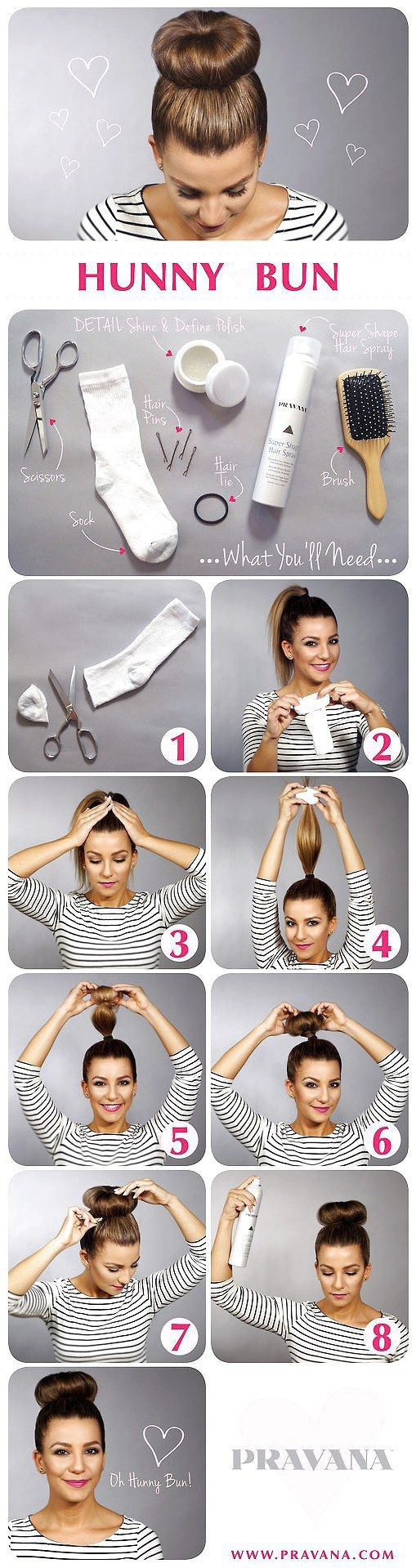 Sock bun tutorial- Makes fun curls when you pull it out    Takes me a few tries to roll my hair up right but the bun comes out nice and stays in well....