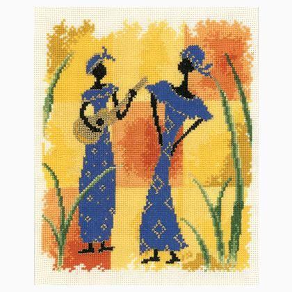 0 point de croix femmes africaines et guitare - cross stitch african women and guitar