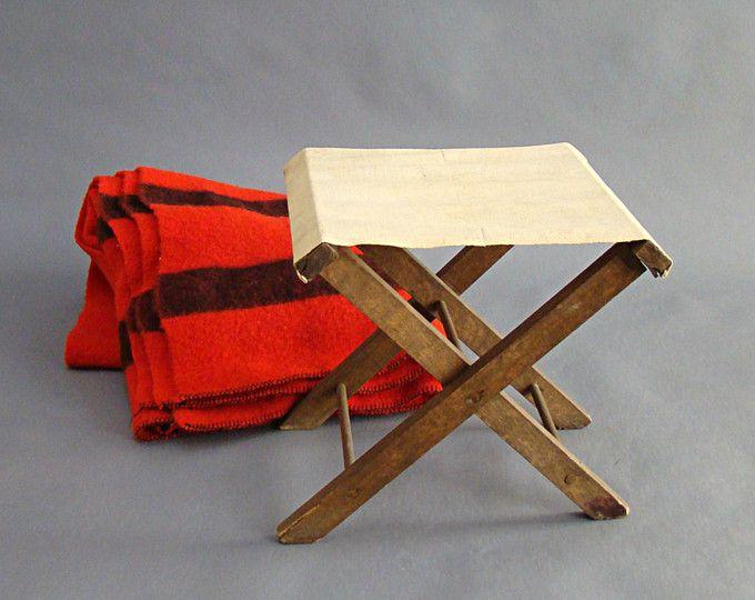 Taburete vintage de campo; Vintage plegable taburete de campo; Lona y madera; Taburete de campo de lona; Taburete plegable