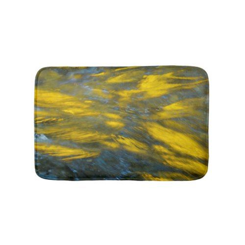 Fall Reflections in Gray and Yellow Bath Mat