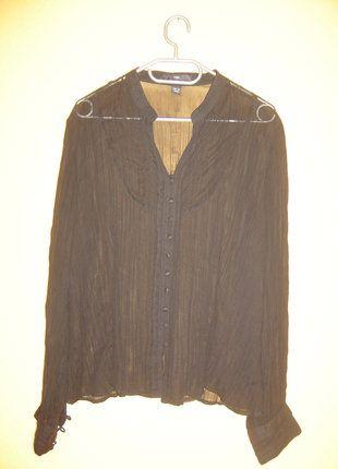 süße durchsichtige Bluse von H&M, tiefschwarz, 44