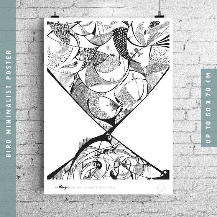 Affiche noir et blanc, fish modern print, minimalist poster nordic art, large modern print, Original artwork, egst, 30x40cm, 50x70 cm by TheRoundButton on Etsy