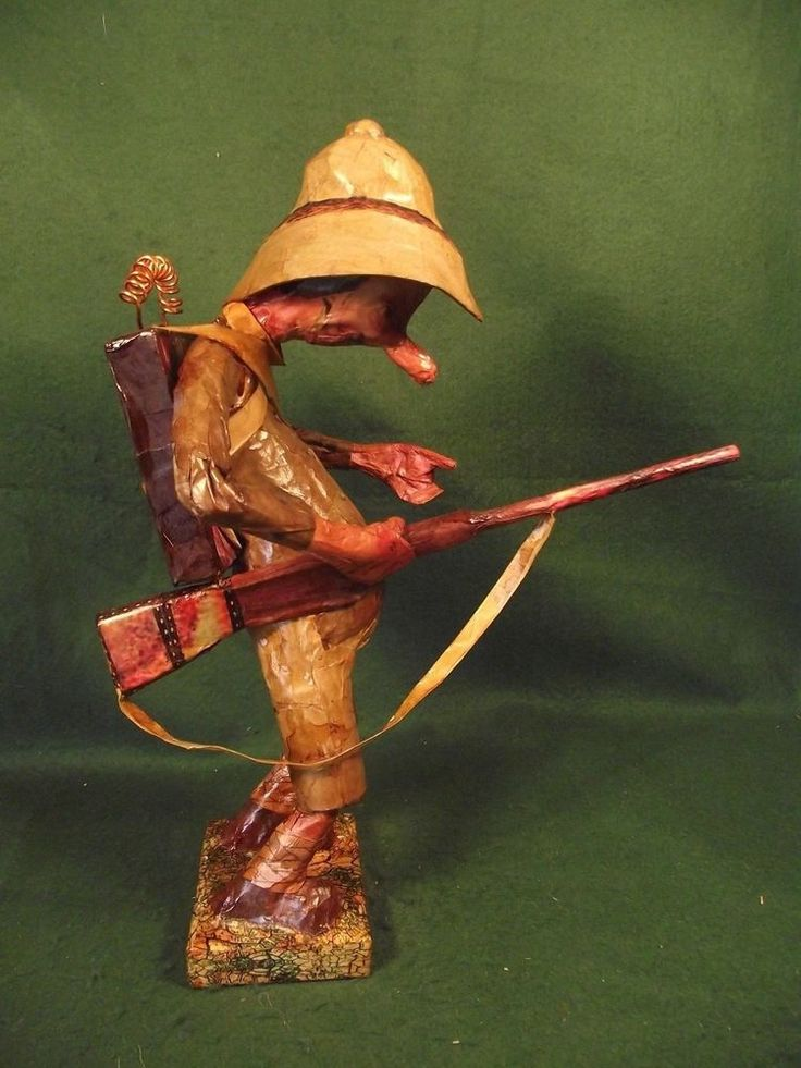 Unique Steampunk African Jungle Explorer Figure - Folk Art Safari Hunter Statue
