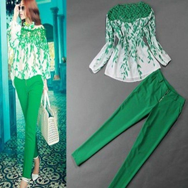 2014 lente nieuwe vrouwen kleding set, gehaakte kant blad print ...