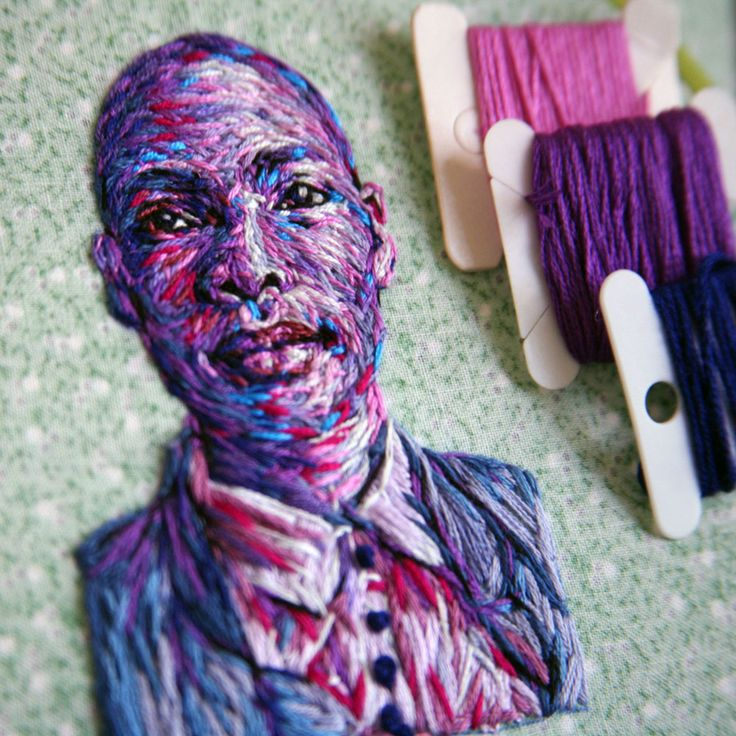 Danielle Clough is a phenomenal South African artist who has shown up on my blog before, HERE . These portraits in thread are from a series...