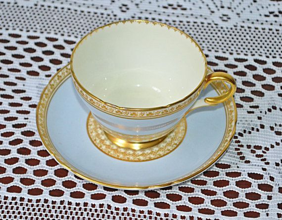 Rare Shelley Teacup And Saucer Pastel Blue And Gold Design
