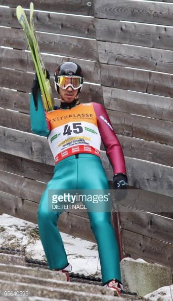 Emmanuel Chedal of France arrives to a trial jump in the Ski jumping World cup event on January 8 2010 at the 'Kulm' in Bad Mitterndorf AFP PHOTO/...