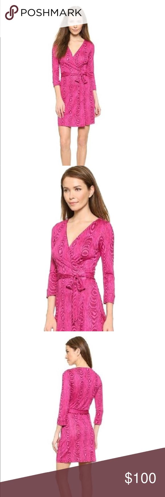 """Pink Dvf """"New Julian Two Mini"""" Wrap Casual Dress A signature DVF wrap dress, cut from silk jersey and updated in a woodgrain print. The crossover bodice forms a flattering V neckline, and a self-tie defines the waist. 3/4 sleeves. Unlined. Fabric: Silk jersey. 100% silk.  Our classic wrap dress in a playful, mini length. The New Julian Two Mini is perfect for a night on the town or a weekend getaway. Cross over wrap with a self-tie belt. 3/4 sleeves. Unlined. Falls to mid thigh.   In New…"""