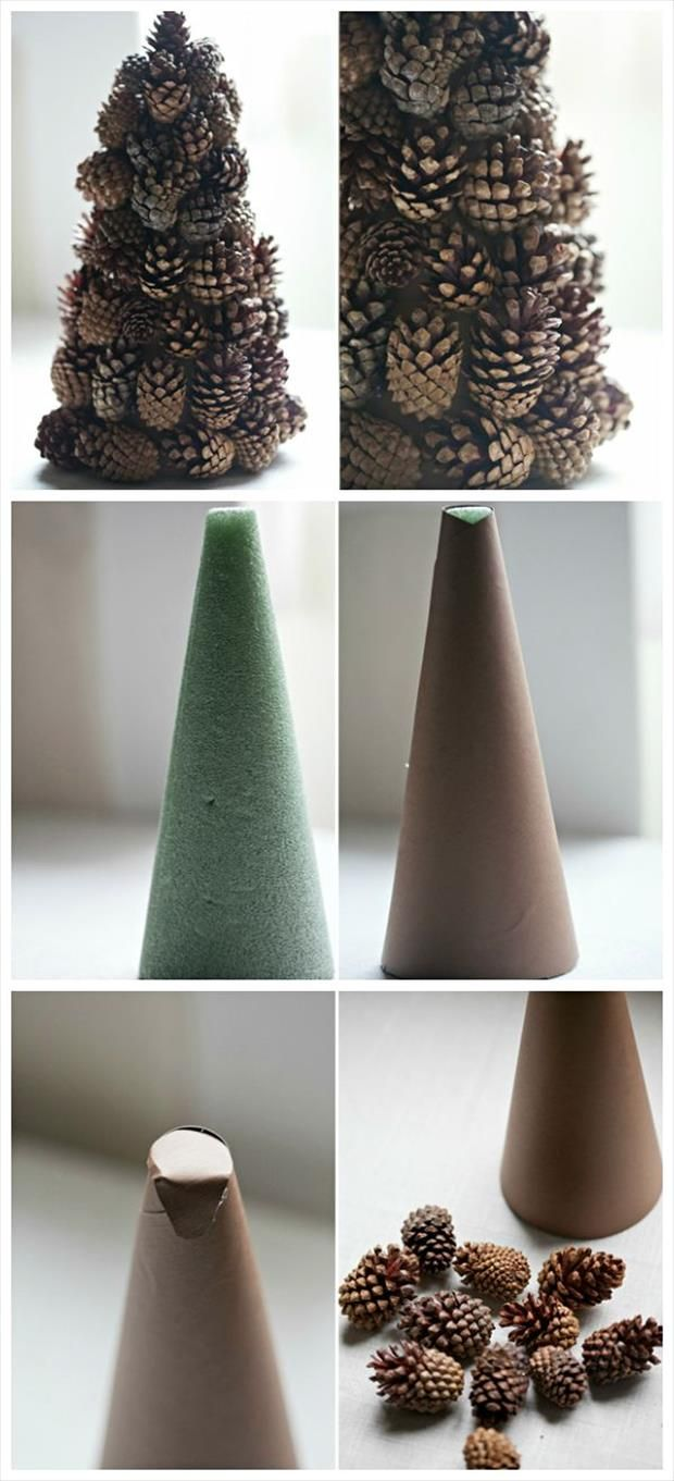 diy pinecone christmas tree decoration - just hot glue pine cones to a styrofoam cone.