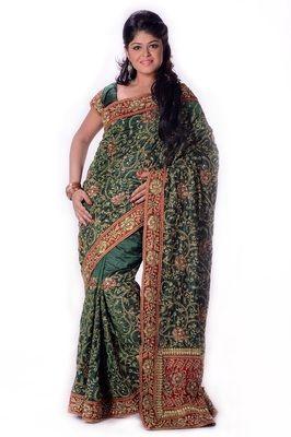 Dark Green Art Silk Resham Zari Stone And Patch Bordered Saree Sarees on Shimply.com