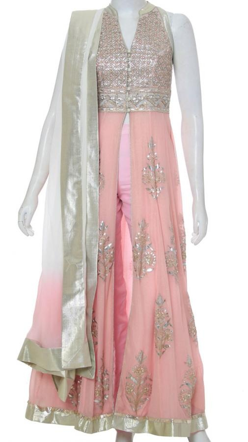 Open Front Anarkali Suit | Strandofsilk.com - Indian Designers