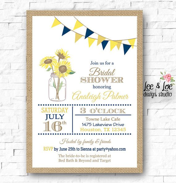 Sunflower Bridal Shower Invitation-Navy Yellow Rustic by LeeandLoe