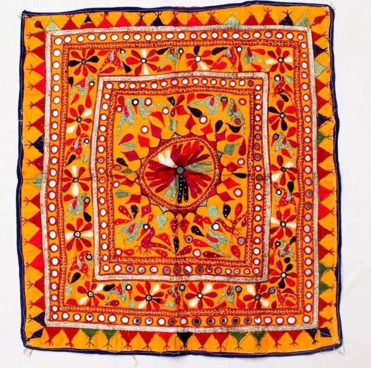 "24"" X 25"" VINTAGE RABARI FINE HAND EMBROIDERY MIRROR ETHNIC TRIBAL -WALL HANGING - $20.04"
