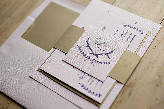 Wood Grain Rustic Letterpress Invitation Suite  by JustInviteMe, $12.50