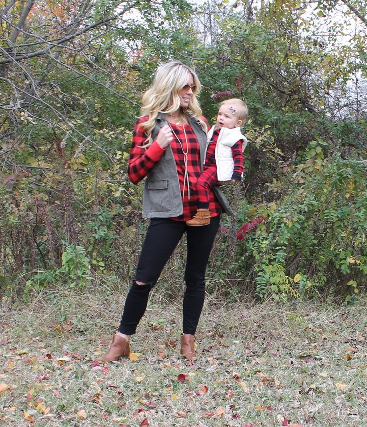 Twinning, Mommy and Me, Buffalo Plaid Outfit