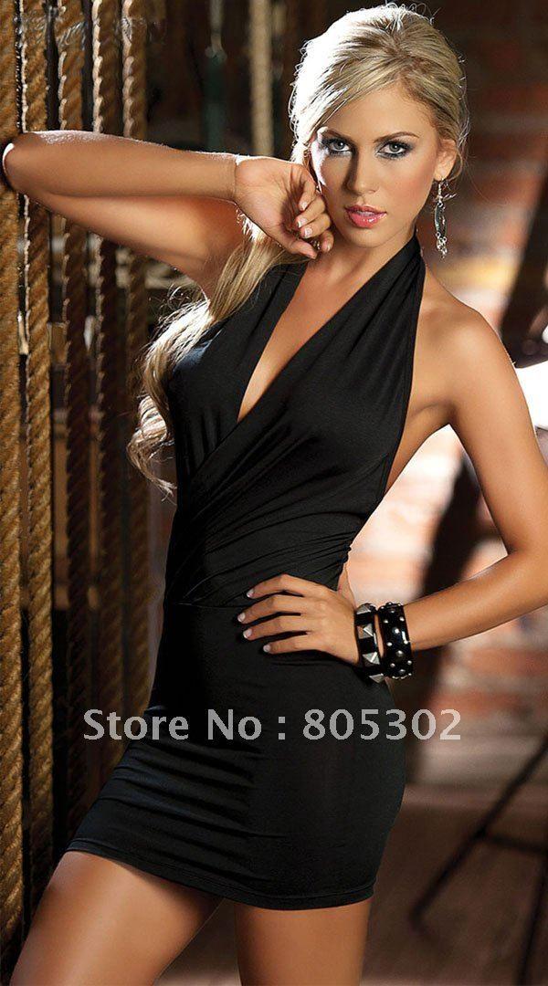 小売・卸売、 セクシーランジェリー/黒ホルター深いvminidressひざの上裸の背中、 パーティーのためにショートウエディングドレス/、 1セット、 dm019