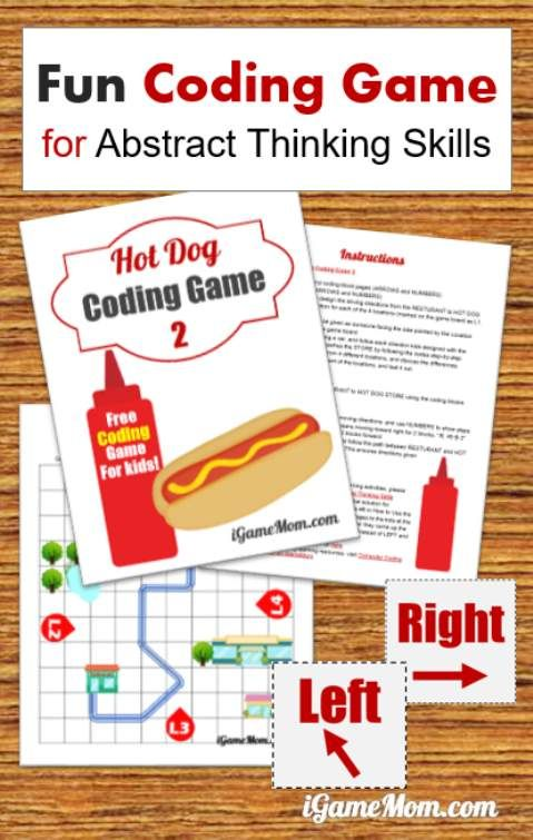 Printable coding game for kids grade k-5, plus activity ideas for teaching kids critical thinking skills, think from different perspectives, think through all scenarios, abstract data. | hour of code | ICT | off screen | tech class | STEM
