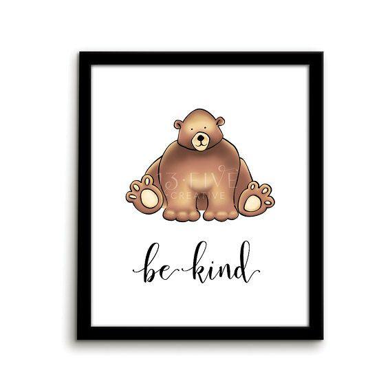 Bear Print Animal Nursery Art by ThirteenFiveCreative on Etsy