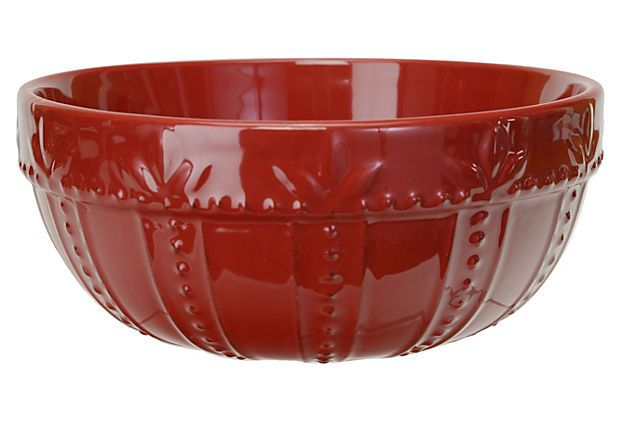 One Kings Lane - The Festive Cook - Small Sorrento Mixing Bowl, Ruby