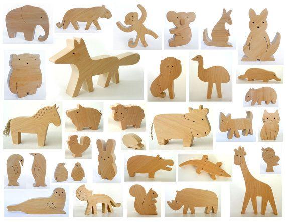 ANY 6 animals - Organic wooden toy - wooden animals - handmade