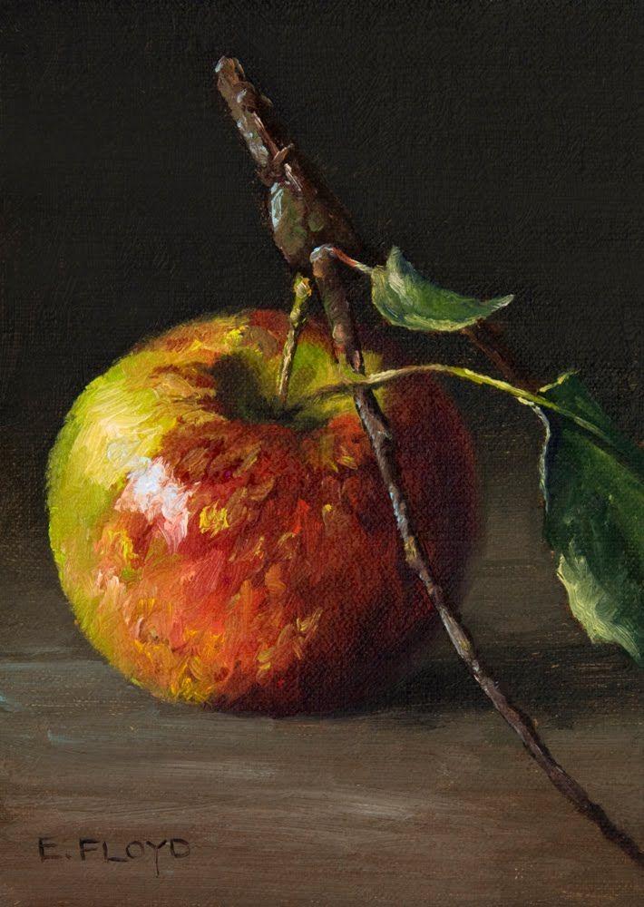 "Elizabeth Floyd: Heirloom Apple. Oil on canvas. ""Lovely painting of a still life!"""