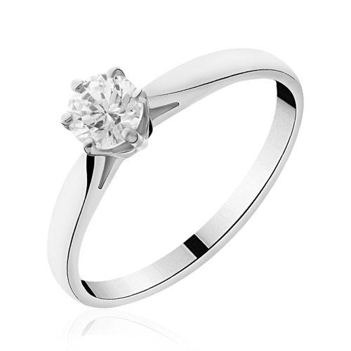 Solitaire diamant or blanc  Lauren
