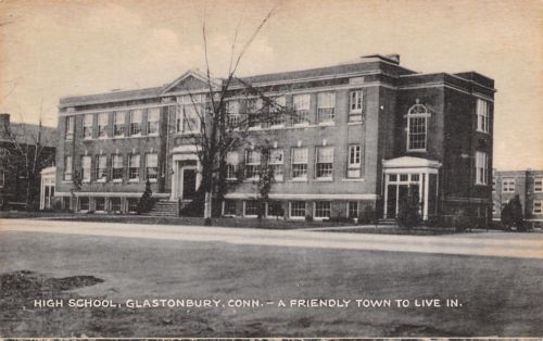 Glastonbury-CT-High-School-1920s-A-Friendly-Town-to-Live-In-Postcard-B-amp-W