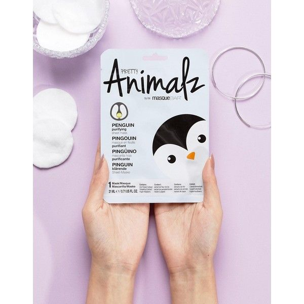 Pretty Animalz Penguin Sheet Mask ($5.38) ❤ liked on Polyvore featuring beauty products, skincare, face care, face masks, clear, face mask and facial mask