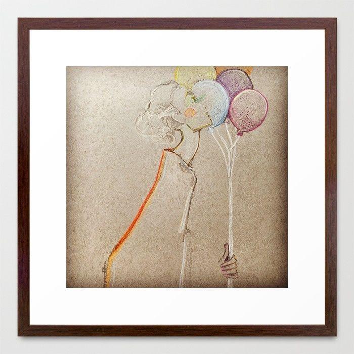Girl & Balloons Framed Art Print