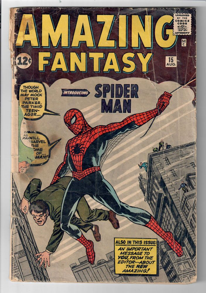 AMAZING FANTASY #15 - Grade 1.0 - First of appearance of Spider-Man!  http://www.ebay.com/itm/AMAZING-FANTASY-15-Grade-1-0-First-appearance-Spider-Man-/292100096711?roken=cUgayN&soutkn=DbY4UK