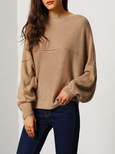 brown fall sweater, casual trendy brown sweater, boat neck sweaters - Lyfie