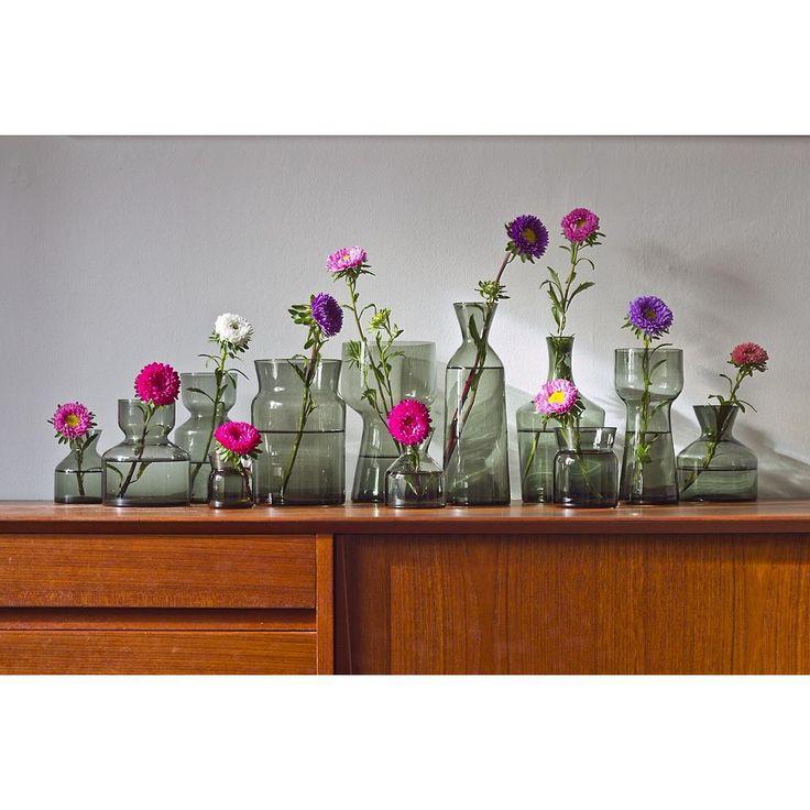 """Collection of 1960s """"Pavane"""" vases by Tom Möller for Reijmyre. Made in Sweden. At www.modernisten.com"""