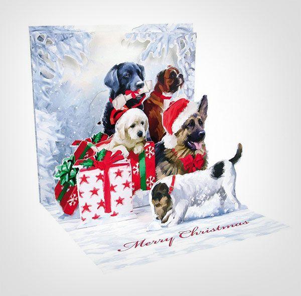 귀여운-개-3D-팝업 - 인사말 카드 - 크리스마스