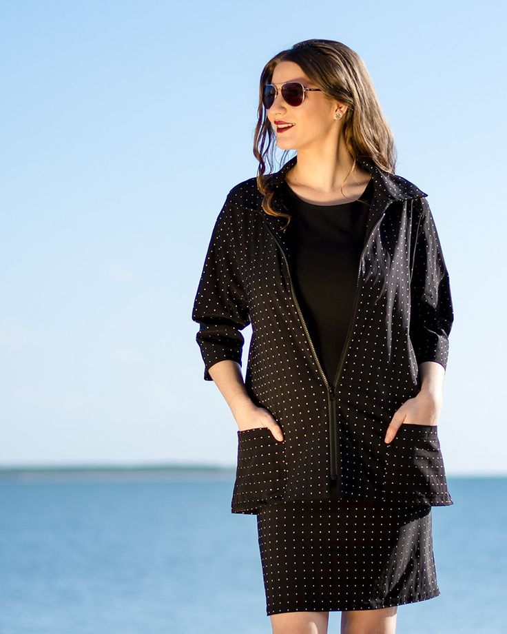 Amore Jacket in Black with White Dots